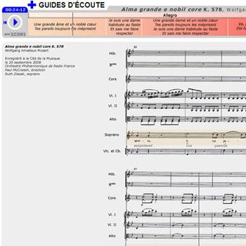 Guide d'écoute Alma grande e nobil core de Wolfgang Amadeus Mozart de la boîte à outils Mozart