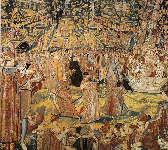Ballet donné par Catherine de Médicis en l'honneur des ambassadeurs polonais, tapisserie, vers 1580. Galerie des Offices, Florence
