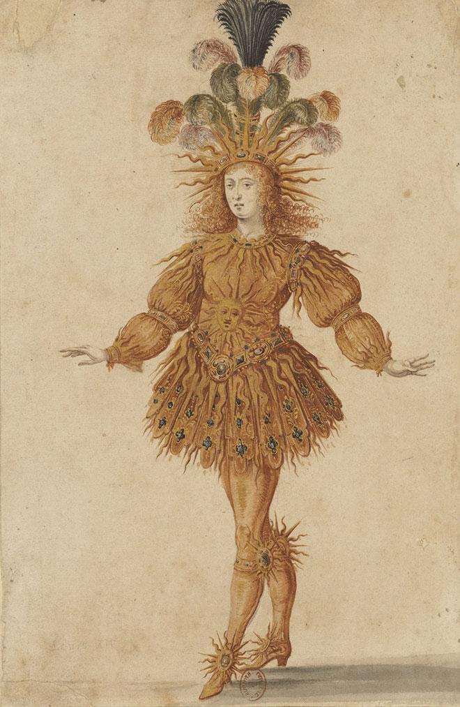 Costume du Ballet royal de la Nuit, représenté à la Cour en 1653, dans lequel Louis XIV figura habillé en soleil. Gallica BnF