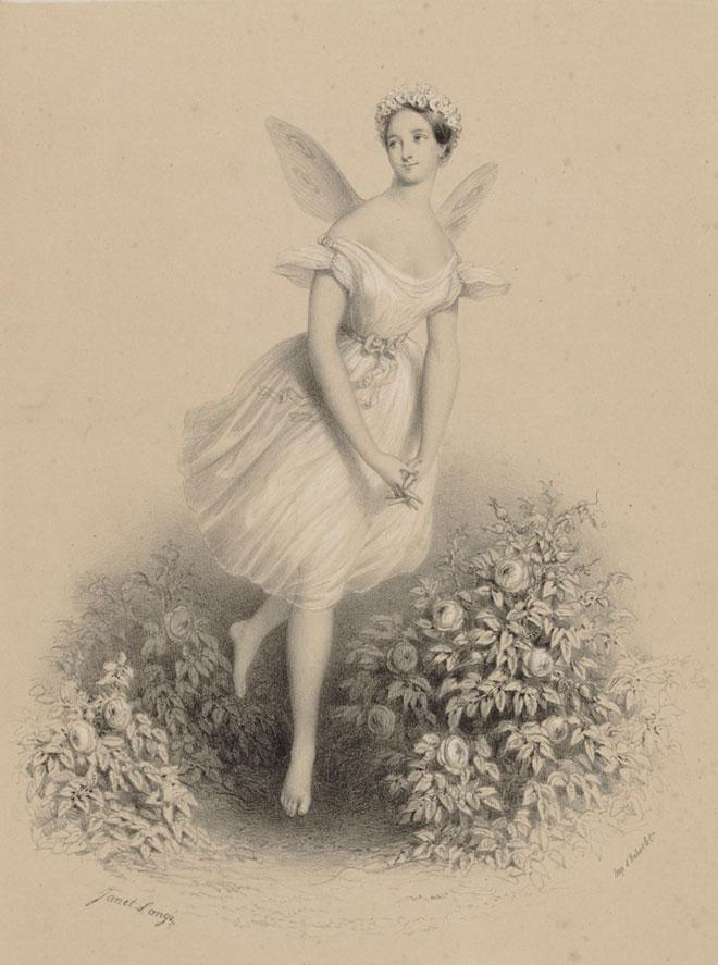 Maria Taglioni (La Sylphide), lithographie de Janet Lange, 1830-1839. Gallica-BnF