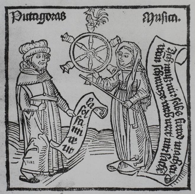 Pythagore et la Musique, titre des traités ed. Augsbourg, 1500, Gallica-BnF