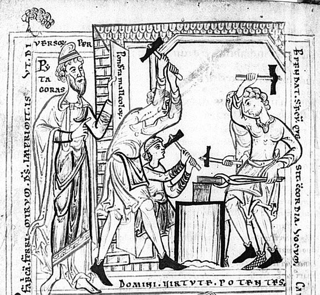 Pythagore et les forgerons, illustration extraite du Petri Manducatoris sermones, BSB Clm 2599, München - Bayerische Staatsbibliothek