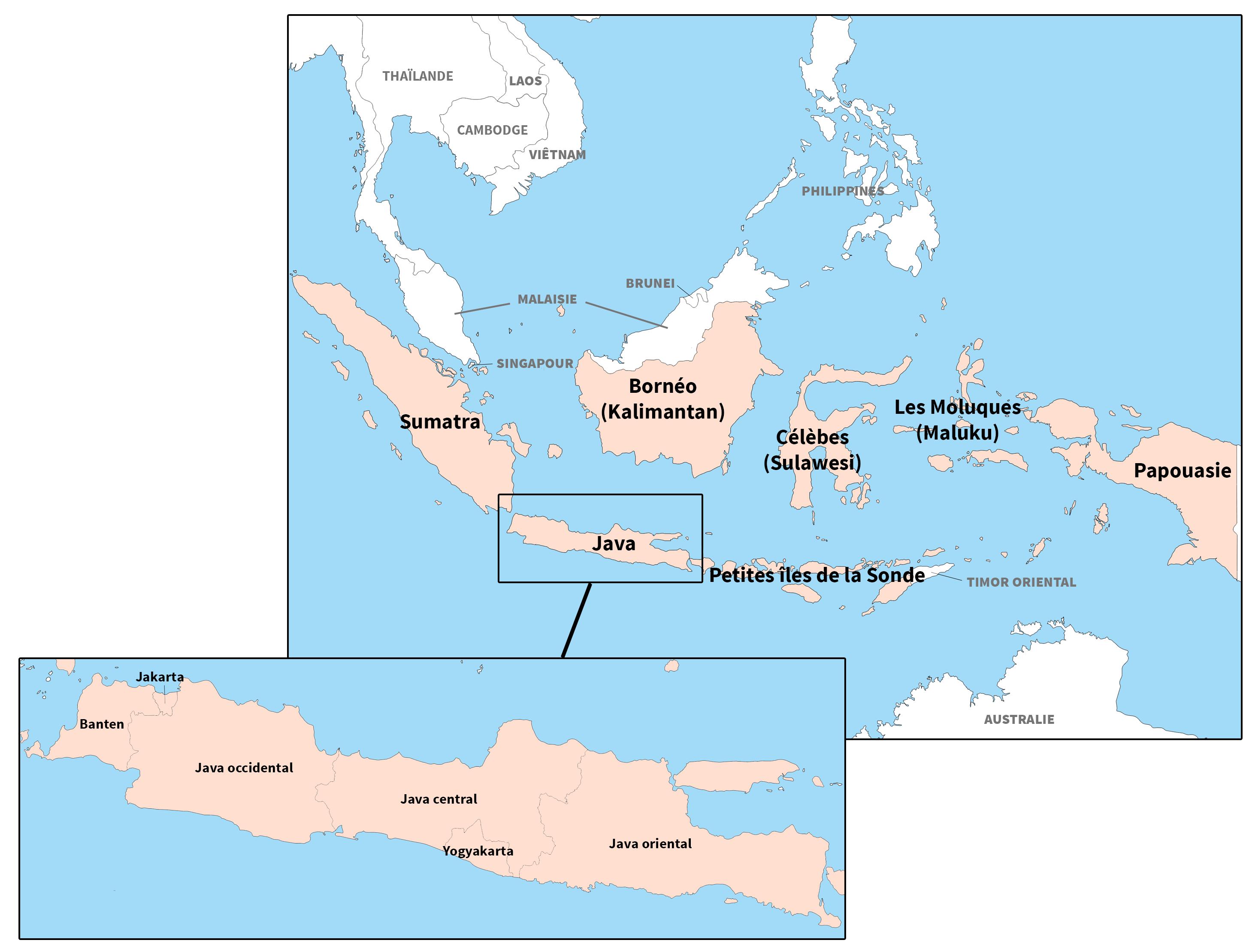 Archipel indonésien. Cartes issues du site d-maps.com