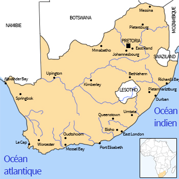 Carte d'Afrique - Afrique du Sud