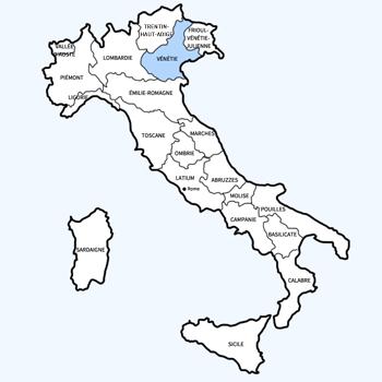 Carte d'Italie - région Vénétie