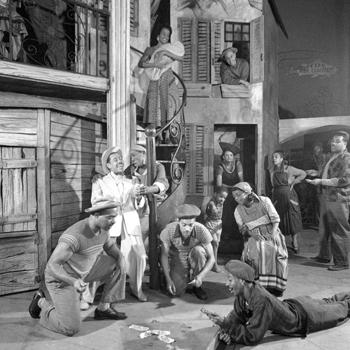 Porgy and Bess, représentation au Volksoper de Vienne, 1952, scène de jeu sur Summertime. Source : Österreichische Nationalbibliothek
