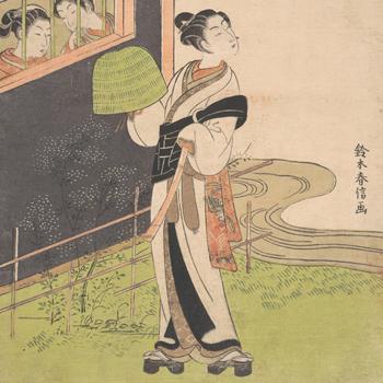 Moine joueur de flûte, par Suzuki Harunobu, période Edo vers 1768, Met/CC0