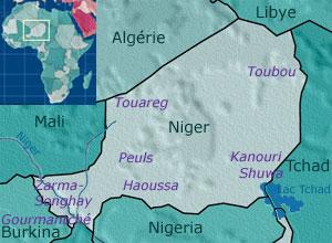 Carte des populations du Niger