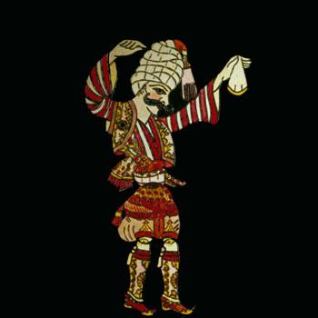 Danseur de zeybek, marionnette de théâtre d'ombre, Ethnologisches Museum, Staatliche Museen zu Berlin
