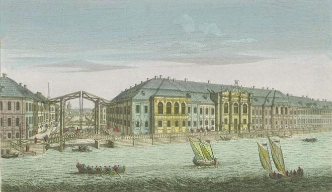 Vue de l'ancien Palais d'hiver de sa Majesté Impériale et du Canal qui joint la Moika avec la Neva, à Saintt Petersbourg. Gallica - BnF