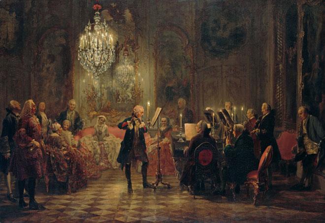 Frédéric II de Prusse jouant de la flûte au palais de Sanssouci, peinture à l'huile de Adolph von Menzel, 1850-1852. Nationalgalerie der Staatlichen Museen zu Berlin, photo de Jörg P. Anders/CC BY-NC-SA