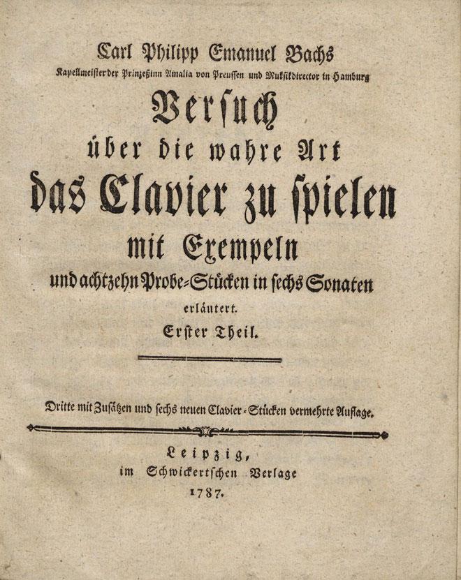C.P.E. Bach, Essai sur la véritable manière de jouer des instruments à clavier, 1753. Harvard University Library/CC BY