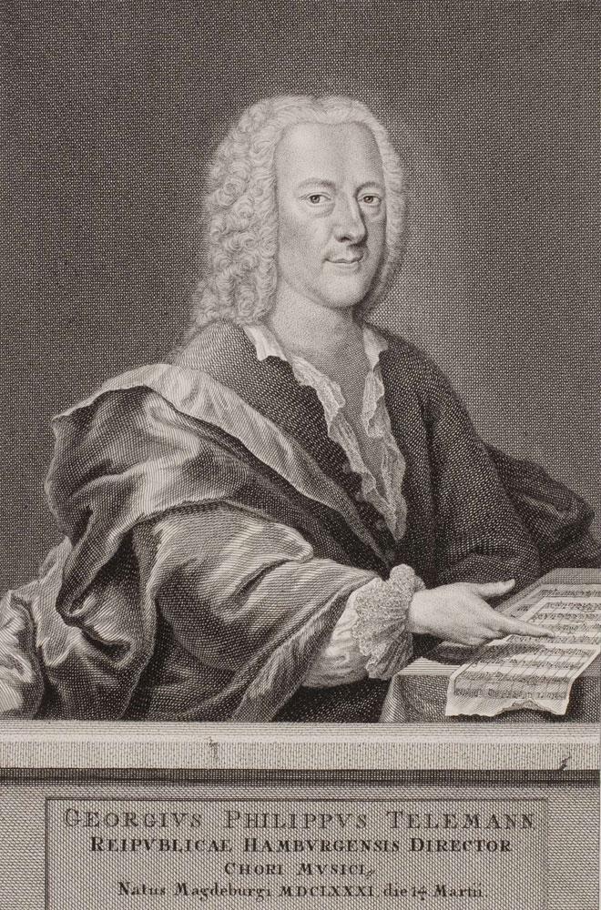 Georg Philipp Telemann, gravure de Georg Lichtensteger. Herzog August Bibliothek Wolfenbüttel/CC BY-SA