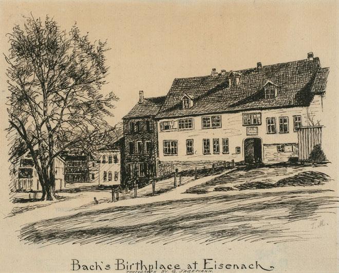 Lieu de naissance de Bach à Eisenach, par Ferdinand Agemann. NY Public Library digital collections