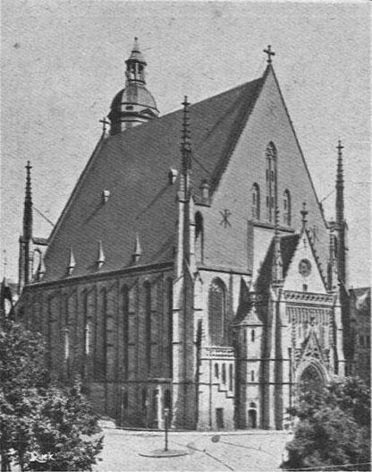 L'église Saint-Thomas de Leipzig où Johann Sebastian Bach fut organiste, Revue Musica, n° 61, octobre 1907. INHA/CC BY 4.0