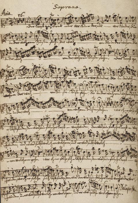 Der Trost gehoret, partition autographe de Wilhelm Friedemann Bach, 1758. British Library