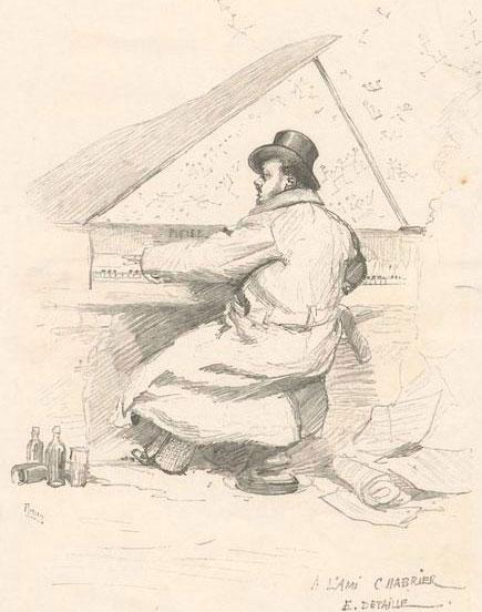 Gravure de Frédéric Florian, d'après É. Detaille, Emmanuel Chabrier © NY Public Library digital collections