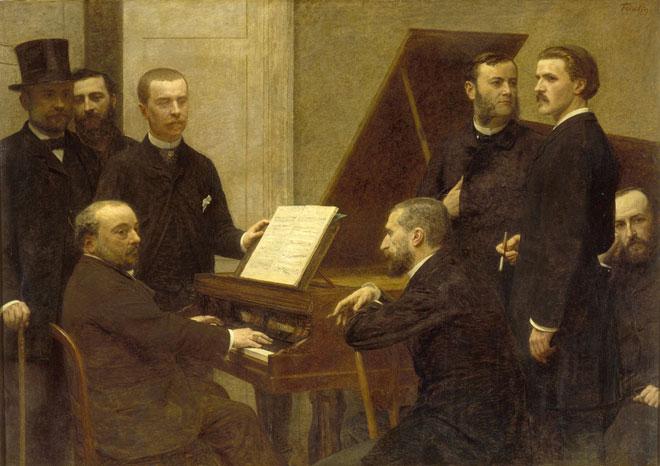 Henri FANTIN-LATOUR, Autour du piano, 1885, Chabrier est au piano © RMN Musée d'Orsay