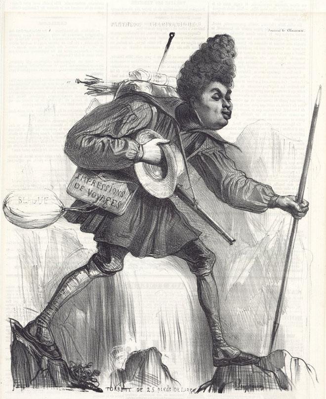 Caricature d'Alexandre Dumas, lithographie de Benjamin Roubaud, 1838 © Gallica-BnF