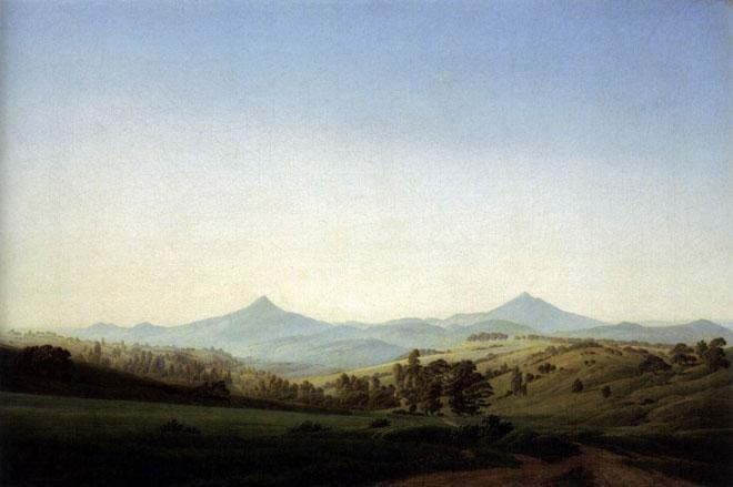 Caspar David Friedrich, Paysage de Bohème avec le Milleschauer, 1809 © New Masters Gallery, Dresden