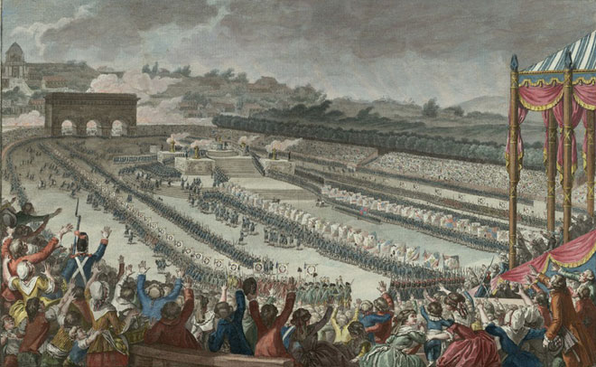 Fédération générale des Français au Champ de Mars le 14 juillet 1790, dessin de Monnet, gravure de Helman © Gallica-BnF