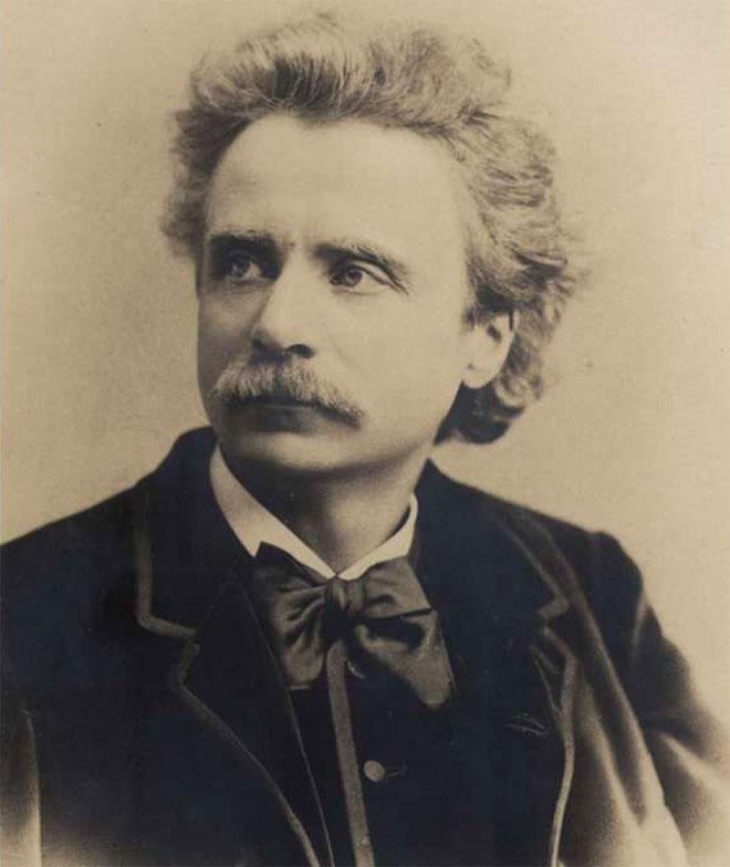 Portrait de Edvard Grieg, photo de Axel Lindahl, 1876 © Bibliothèque de Bergen, Norvège