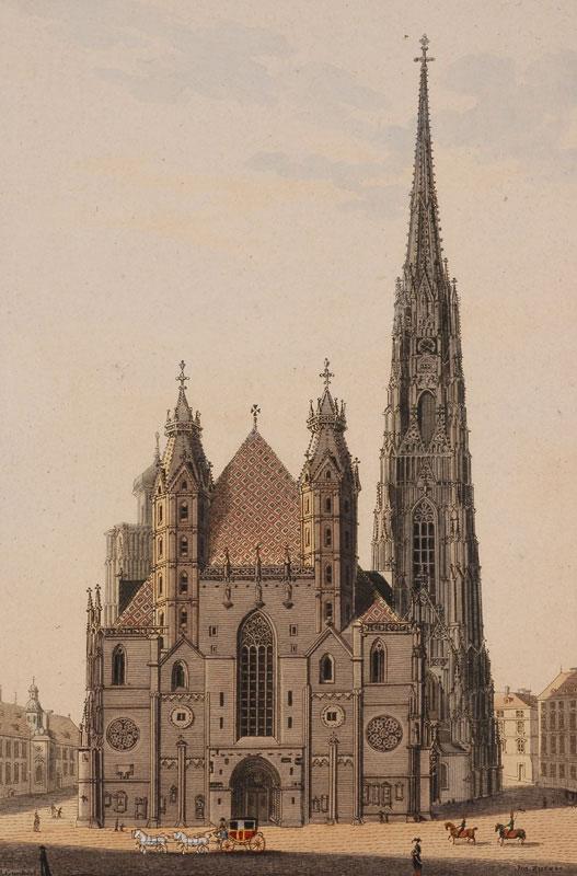 Eduard Gurk, Cathédrale Saint-Etienne de Vienne en 1830 © DR