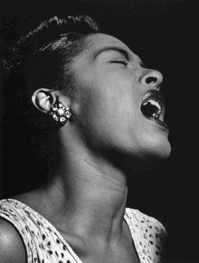 Portrait de Billie Holiday, Downbeat, février 1947, photo de William Gottlieb. Library of Congress