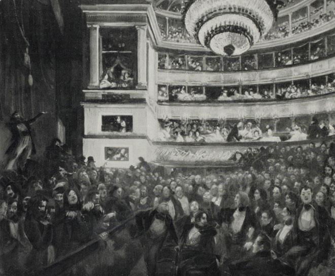 Première représentation d'Hernani à la Comédie Française, Tableau de M. A. Besnard, presse, 1830 © Gallica-BnF