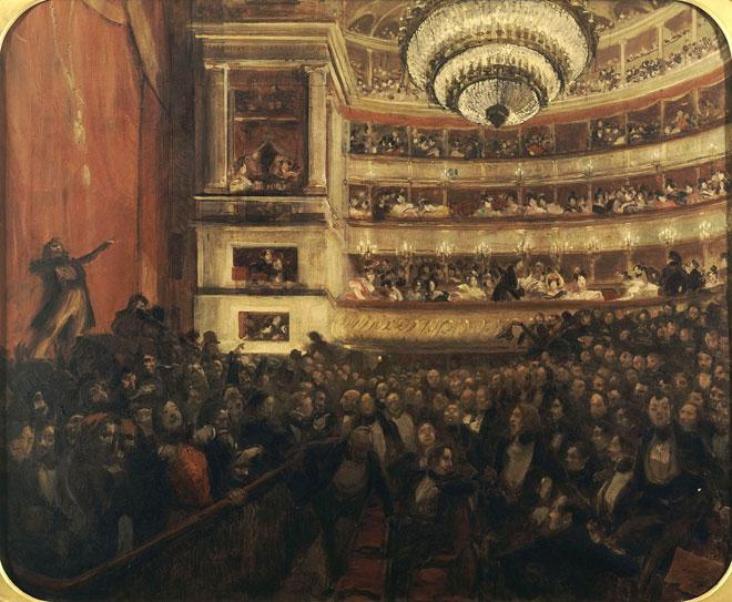 La Première d'Hernani. Avant la bataille, peinture d'Albert Besnard, 1903. Maison de Victor Hugo CC0