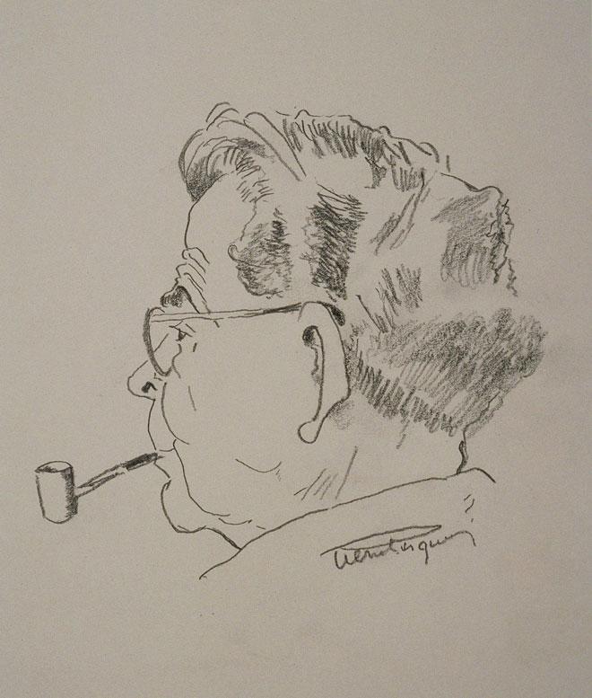 Caricature de Jolivet par Pierre-Victor Pasquier © Jean-Marc Anglès (photo) - Philharmonie de Paris - Musée de la musique