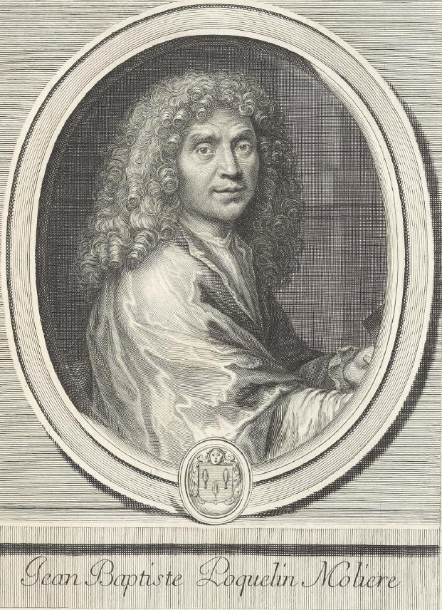 Portrait de J. B. Poquelin de Molière, gravure de J. B. Nolin. Gallica-BnF