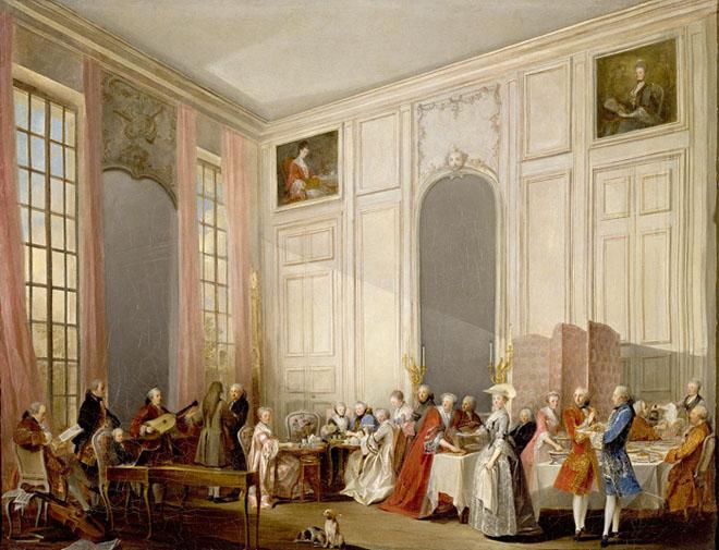 Le Thé à l'anglaise servi dans le salon des Quatre-Glaces au palais du Temple à Paris en 1764, par Michel Barthélémy Ollivier © RMN Grand Palais, Château de Versailles, G. Blot