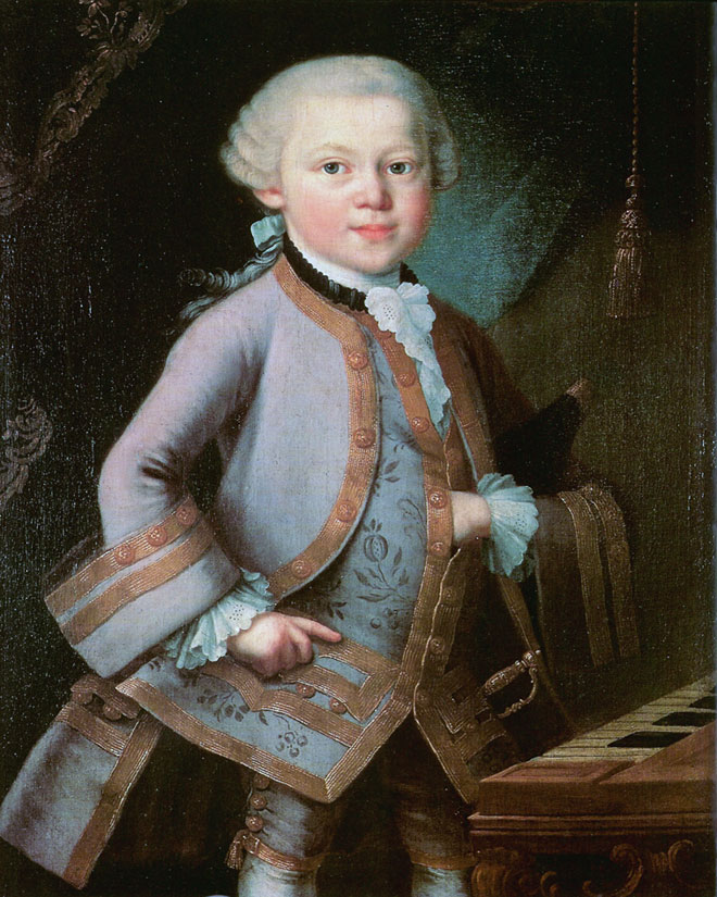 Wolfgang Amadeus Mozart par Pietro Antonio Lorenzoni, 1763 © Mozarteum Salzbourg