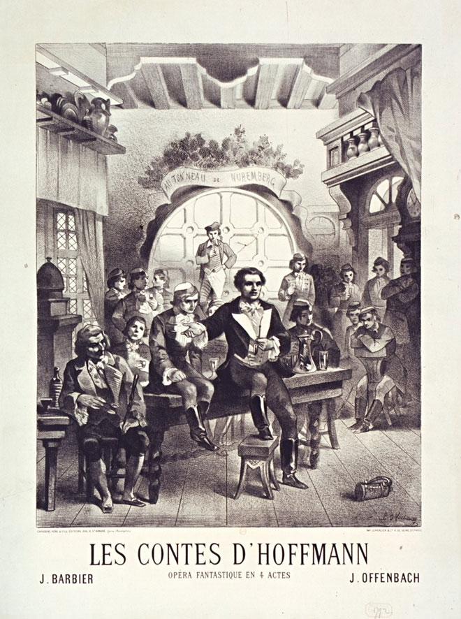 Affiche des Contes d'Hoffmann, J. Barbier et Jacques Offenbach, 1881 © Gallica-BnF