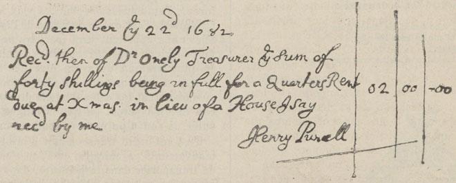 Reçu rédigé et signé par Henry Purcell, le 22 décembre 1682 © Gallica-BnF