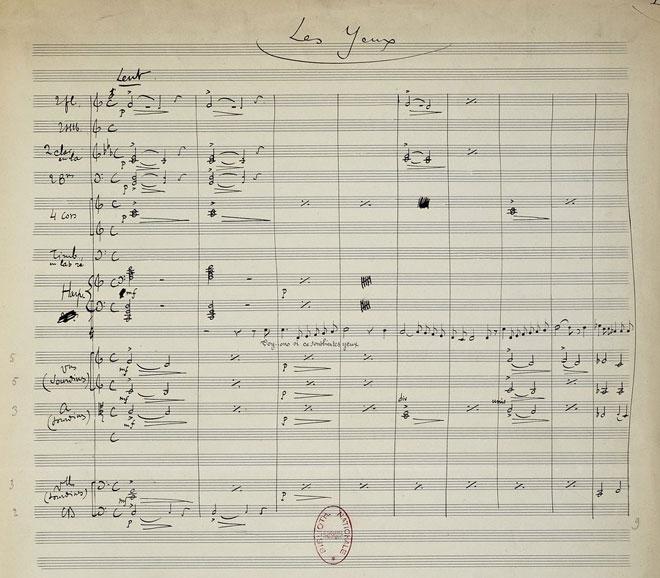 Trois Mélodies pour une voix et orchestre, manuscrit autographe de Henri Rabaud © Gallica-BnF