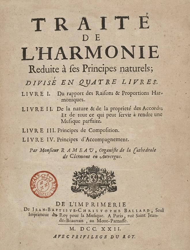 Traité de l'harmonie réduite à ses principes naturels, de Jean-Philippe Rameau, imprimé par Jean-Baptiste-Christophe Ballard, 1722. Gallica-BnF