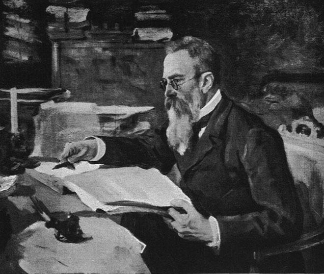 Nicolas Rimsky-Korsakov, illustration extraite de la <cite>Revue Musica</cite> n°56, mai 1907. INHA Bibliothèque des Arts décoratifs (Paris)