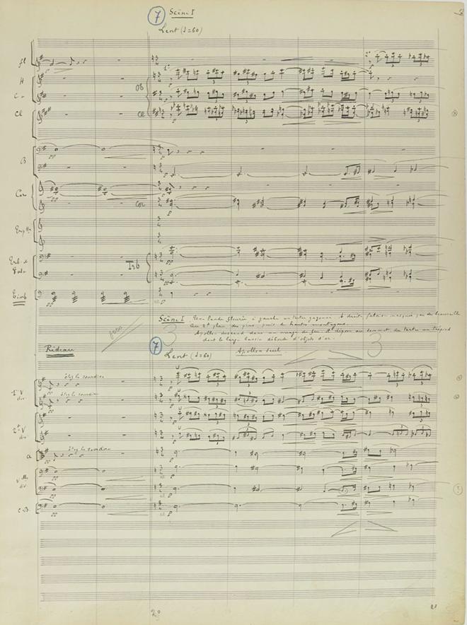 La Naissance de la lyre, conte lyrique en 1 acte et 3 tableaux d'après Sophocle, manuscrit autographe d'Albert Roussel, 1924. Gallica-BnF