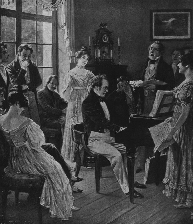 D'après Carl Rohling, Schubert dans le cercle de ses amis, Revue Musica, n°45, Juin 1906 © INHA