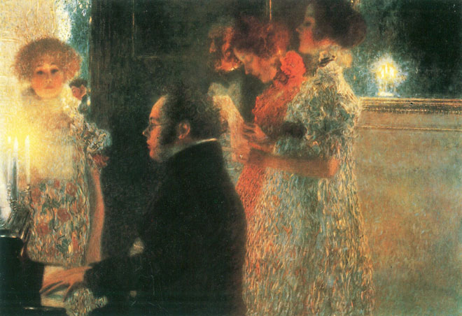Gustav Klimt, Schubert au piano, 1899 (tableau détruit)