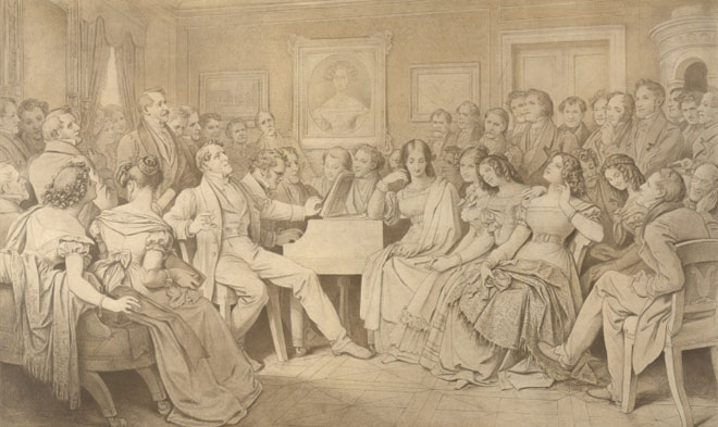 Moritz von Schwind, Une soirée chez le baron von Spaun, Schubert est au piano, 1868 © Österreichische Nationalbibliothek