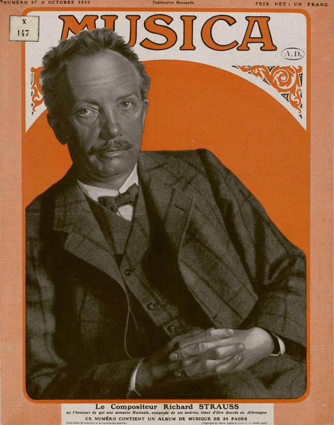 Richard Strauss en couverture de la Revue Musica numéro 97, octobre 1910 © INHA