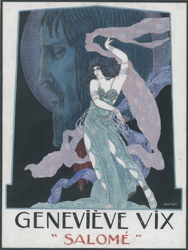 Salomé, drame musical en un acte d'Hedwing Lachmann, musique de Richard Strauss, maquette d'affiche de Jacques Carlu, 1926. Gallica-BnF