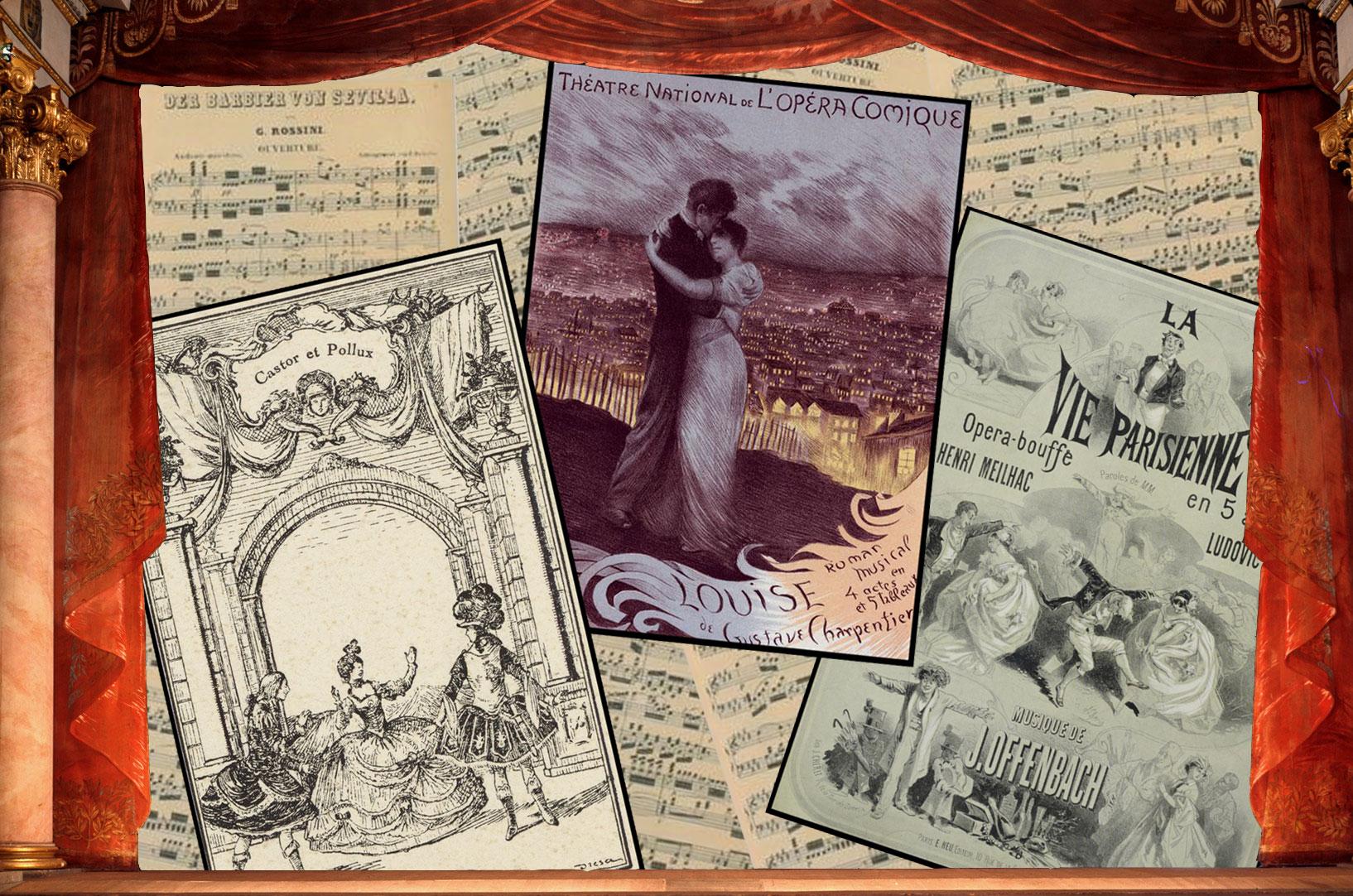Montage d'après des affiches de Castor et Pollux, Louise, La Vie parisienne et la partition du Barbier de Séville