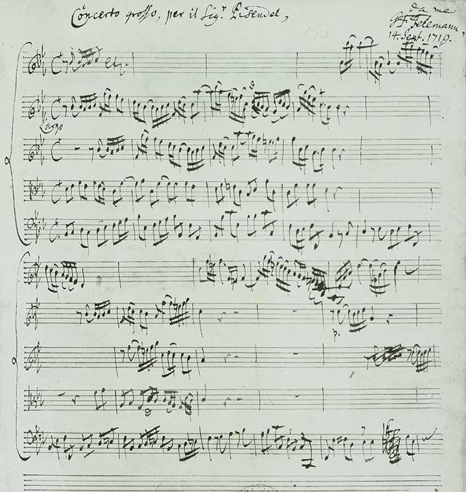Concerto pour violon (Concerto grosso per il Signor Pisendel), manuscrit autographe de Telemann, 17919. SLUB / Deutsche Fotothek CC BY-SA 4.0