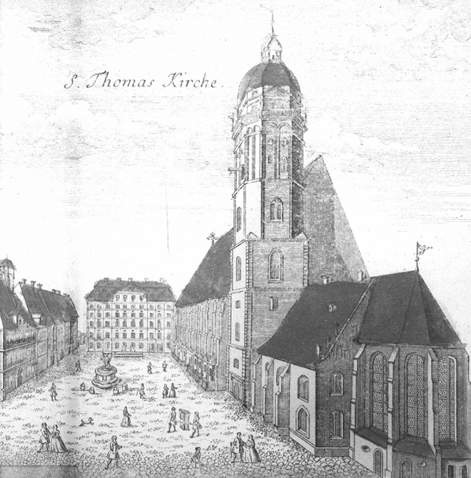 Église St Thomas, gravure du milieu du XVIIIe siècle. Österreichischen Nationalbibliothek