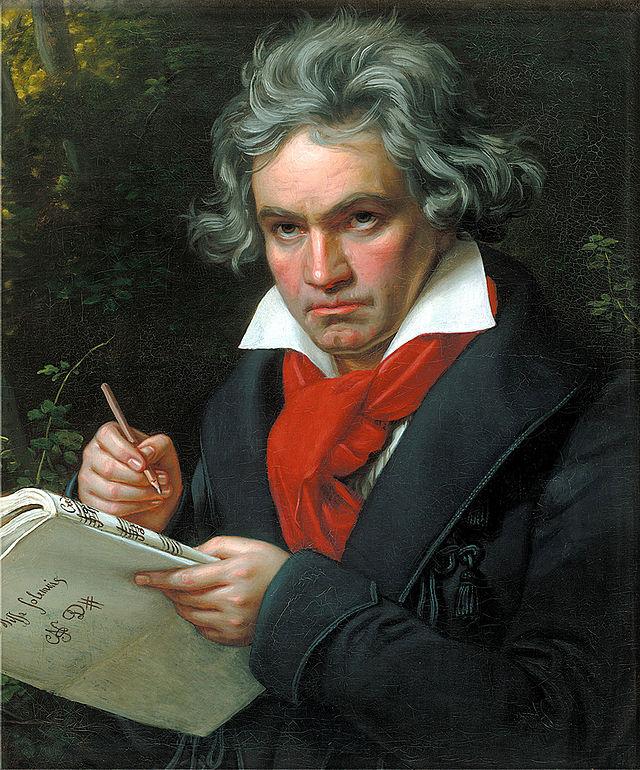 Beethoven composant la Missa Solemnis, portrait à l'huile de Joseph Carl Stieler, 1819 ou 1820. Beethoven Haus Bonn