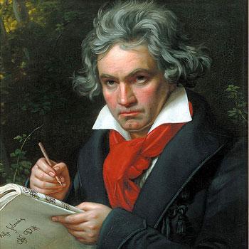 Beethoven composant la Missa Solemnis par Joseph Carl Stieler, portrait à l'huile, 1819 ou 1820. Beethoven Haus Bonn.
